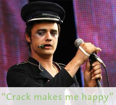Picture of Pete Doherty of Babyshambles looking strung out, with the caption Crack Makes me Happy