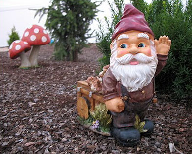 garden gnome fishing. a garden gnome and is only