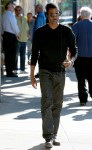 Chris Rock walking in Beverly Hills rehearsing with an iPod