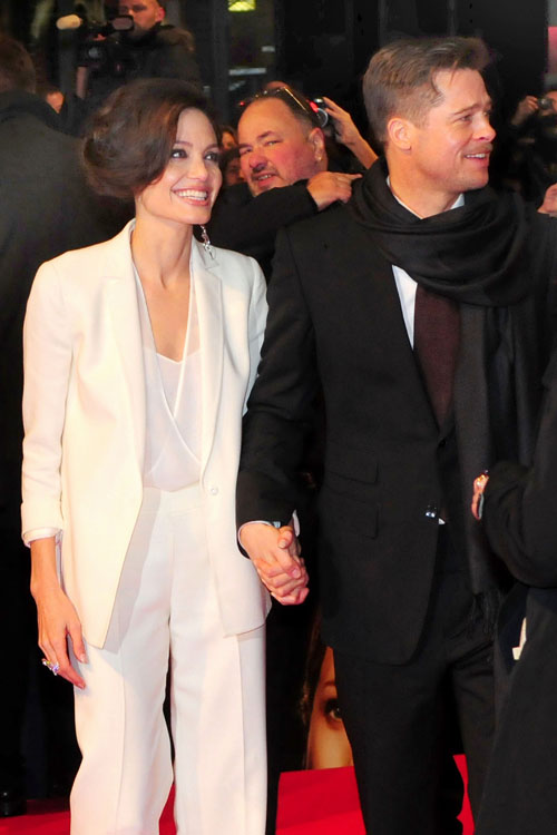 angelina jolie tomb raider premiere. Angelina Jolie and Brad Pitt
