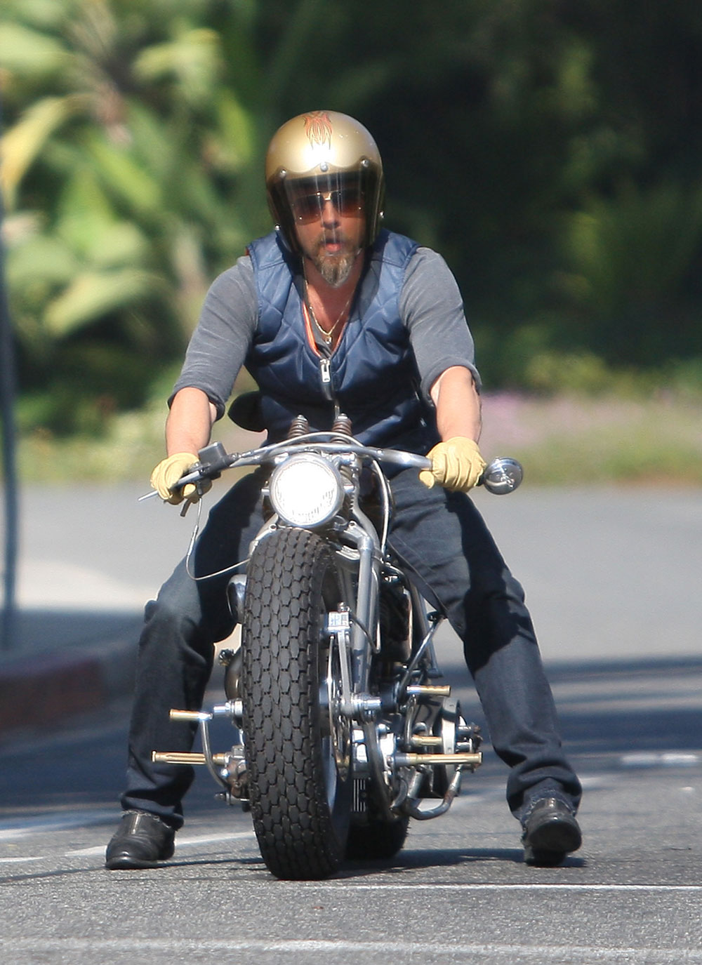 Cele Bitchy Brad Pitt Gets Into A Weird Motorcycle Accident