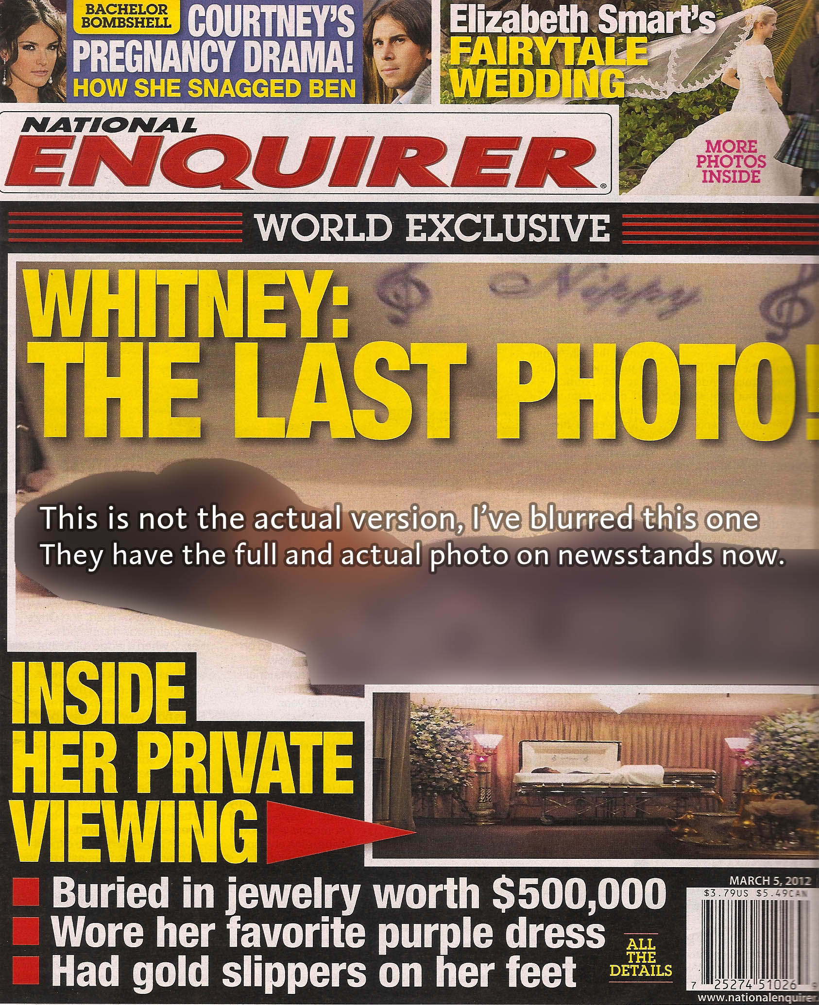 Enquirer's cover image of whitney houston in her casket – way too
