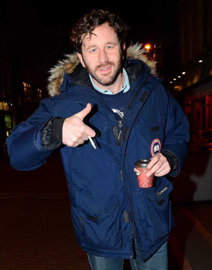 Chris O'Dowd smoking a cigarette (or weed)