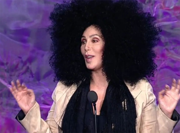 Cher in giant afro wig