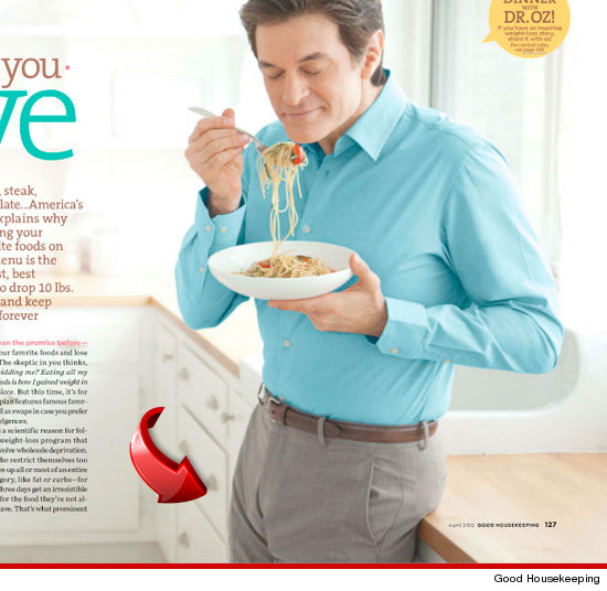 Dr. Oz is reeeeeeealllllyyyy excited about his pasta … judging by ...
