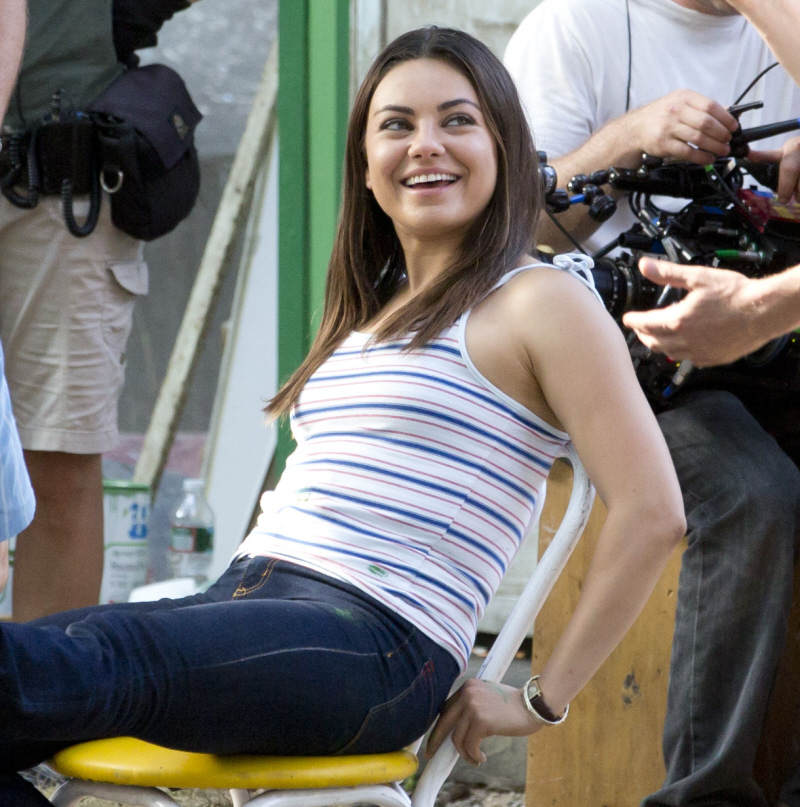 cele bitchy mila kunis shows off slight weight gain on