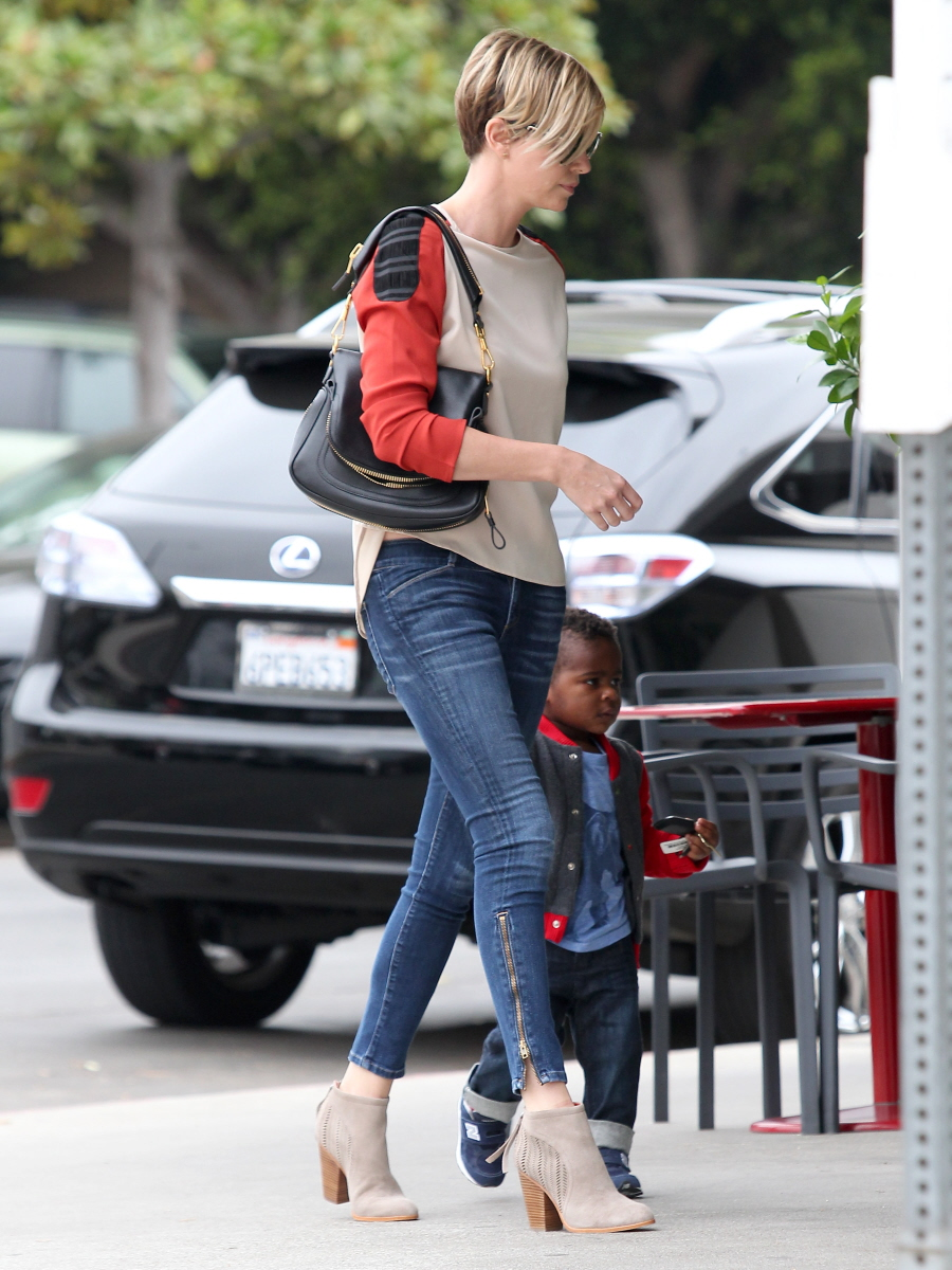 Cele Bitchy Charlize Theron Shows Off New Hair Skinny