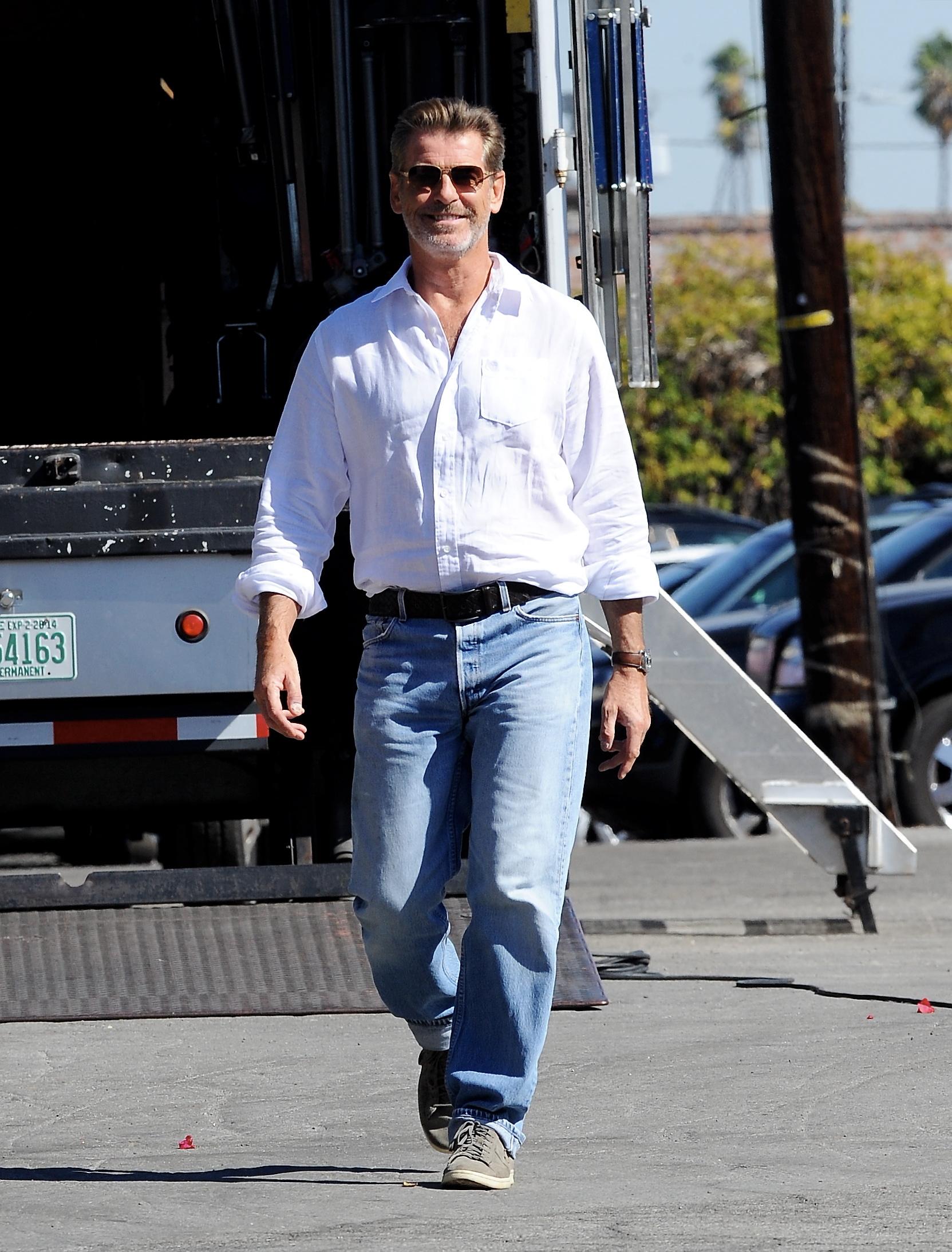 Pierce Brosnan Filming On Location