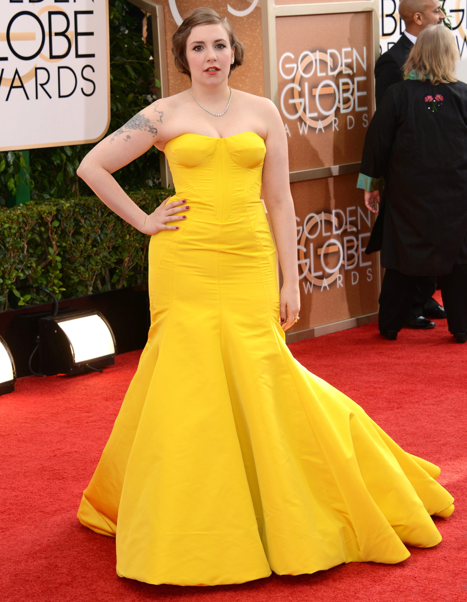 Lena Dunham yellow zac posen