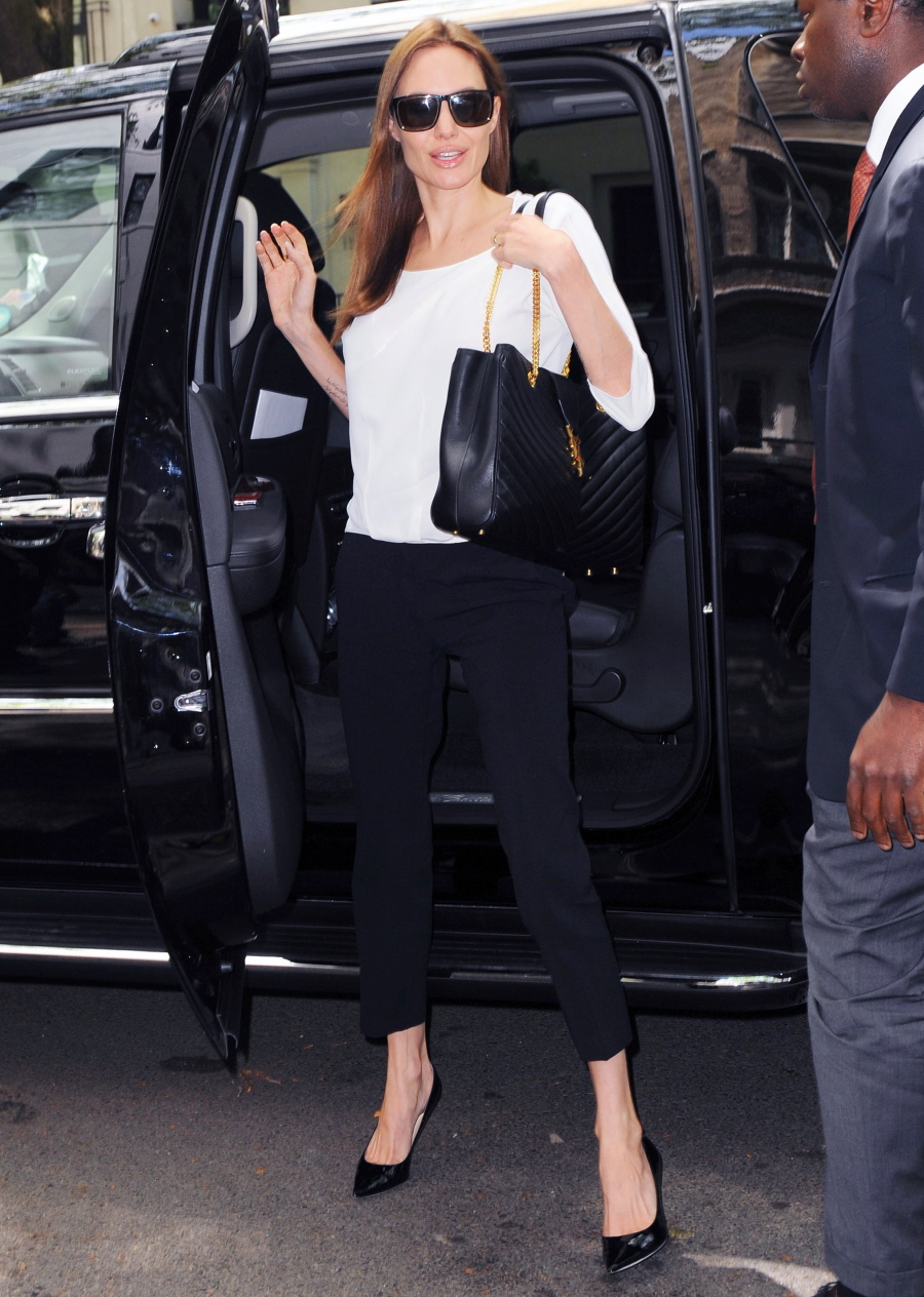Cele|bitchy | Angelina Jolie wears Michael Kors, YSL in New York ...