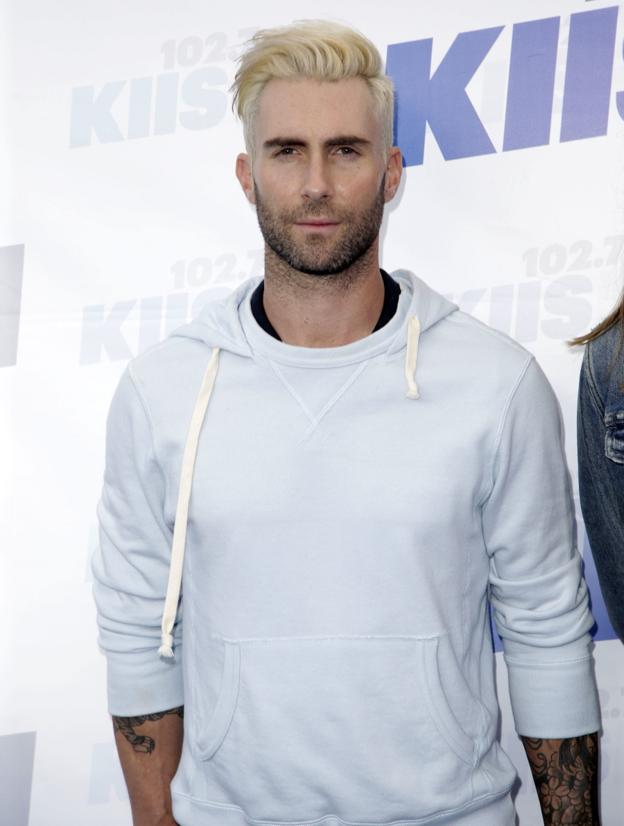 celebitchy adam levine shows off blonde hair greying