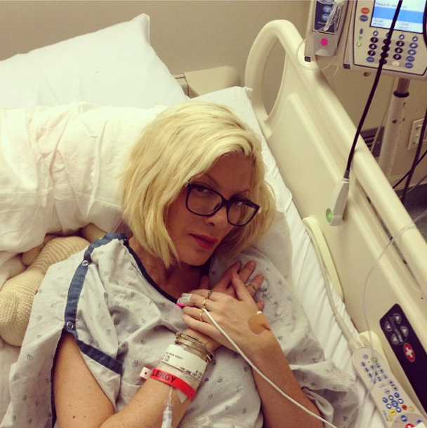 Tori Spelling posts sad hospital bed pic, implies Dean won't visit: truth?