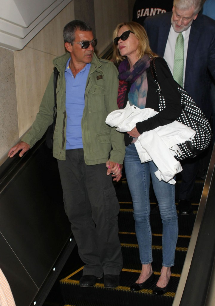 Antonio Banderas and Melanie Griffith at LAX
