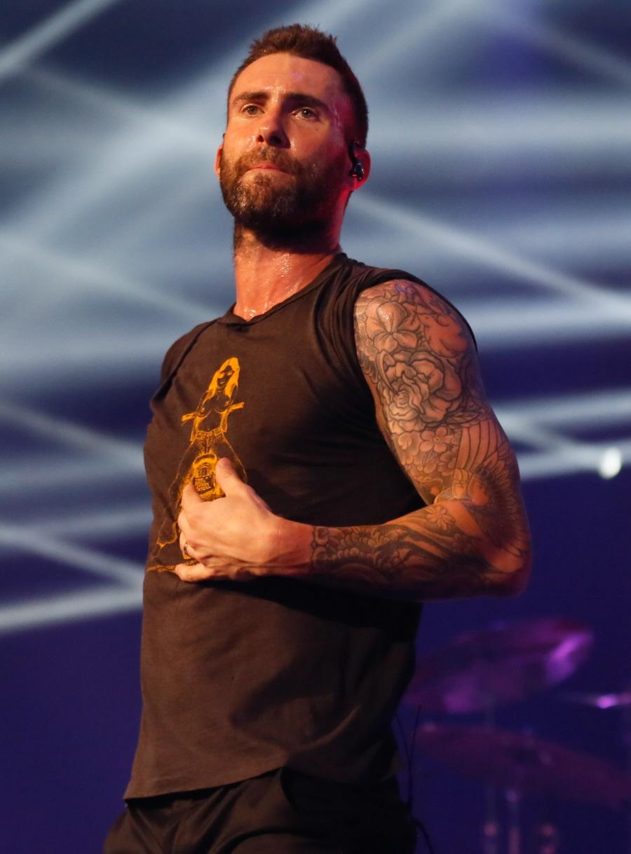 Cele bitchy adam levine shows off his mermaid angel back for Maroon 5 tattoos hindu