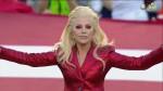 Lady Gaga sings the National Anthem to kick-off Super Bowl 50, Carolina Panthers v. Denver Broncos, held at Levi's Stadium in Santa Clara, California. As seen on CBS.