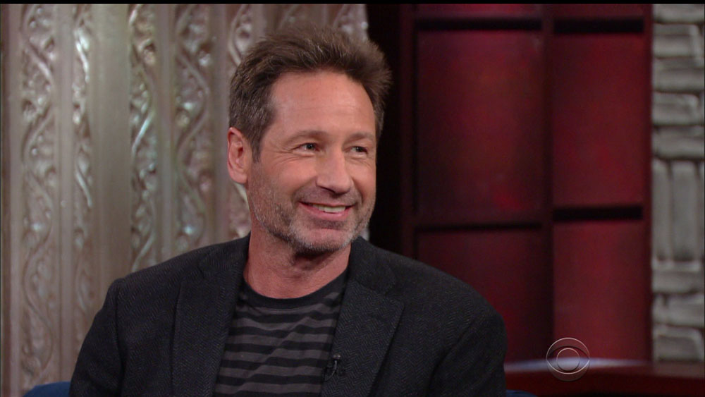 David Duchovny during an appearance on CBS's 'The Late Show with Stephen Colbert.'