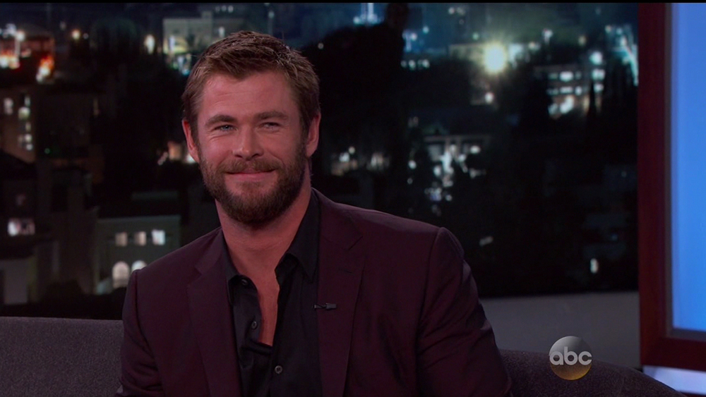 Chris Hemsworth during an appearance on ABC's 'Jimmy Kimmel Live!'