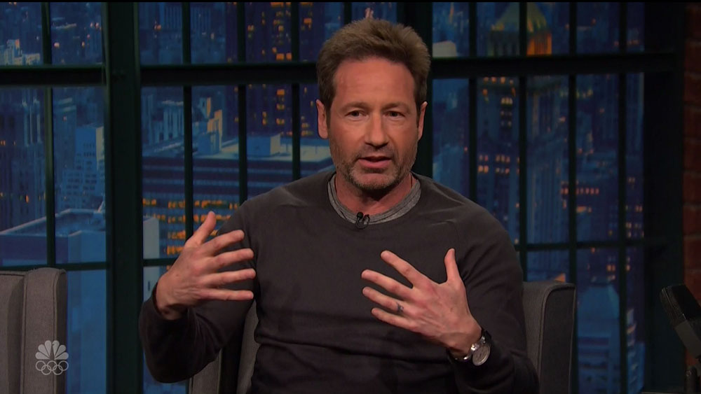 David Duchovny during an appearance on NBC's 'Late Night with Seth Meyers.'