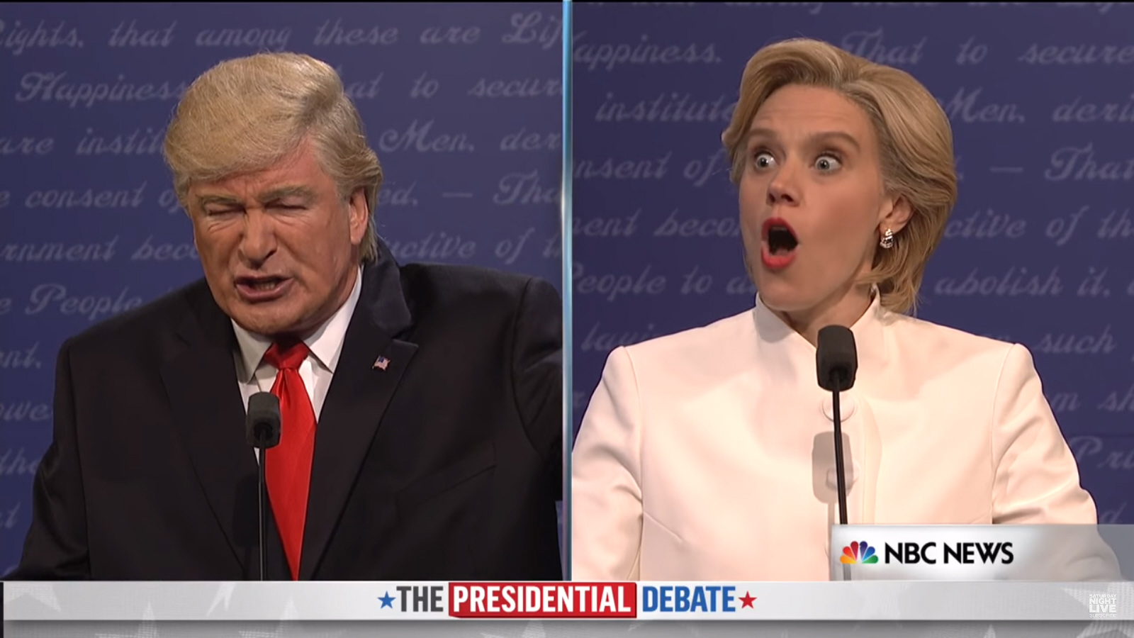 Alec Baldwin & Kate McKinnon spar as Trump & HRC in SNL's final debate skit