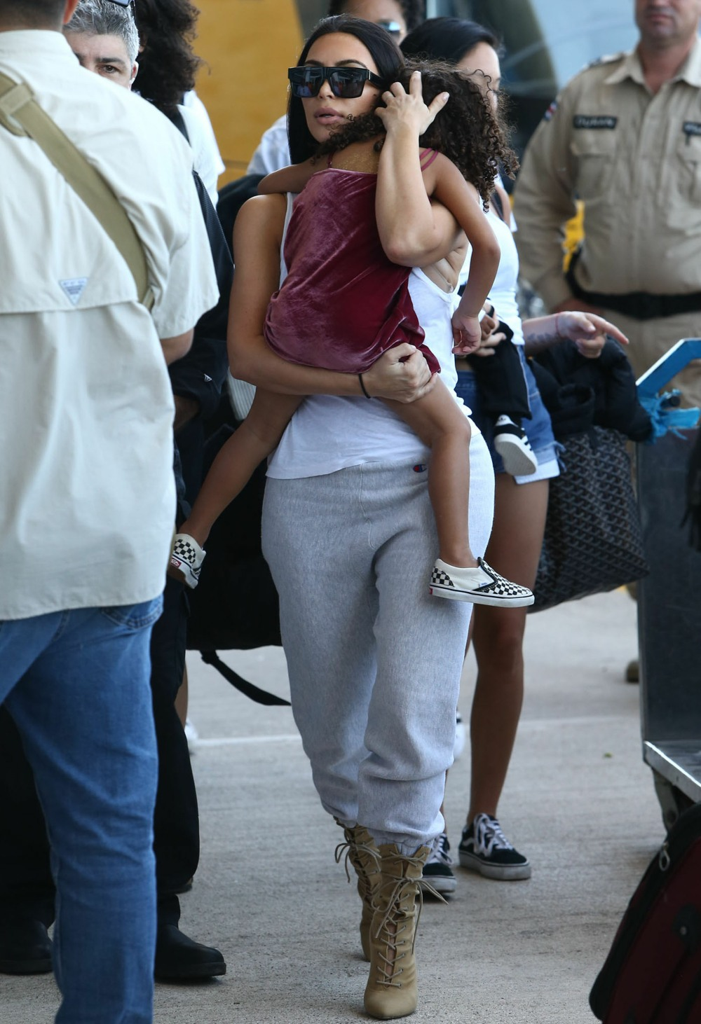 The Kardashian Family Departing On A Flight In Costa Rica  bitchy | Kim Kardashian claims she works out 'each single day for over an hour' FFN BJJMiamiPixxAKM Kardashian Family 013017 52299308