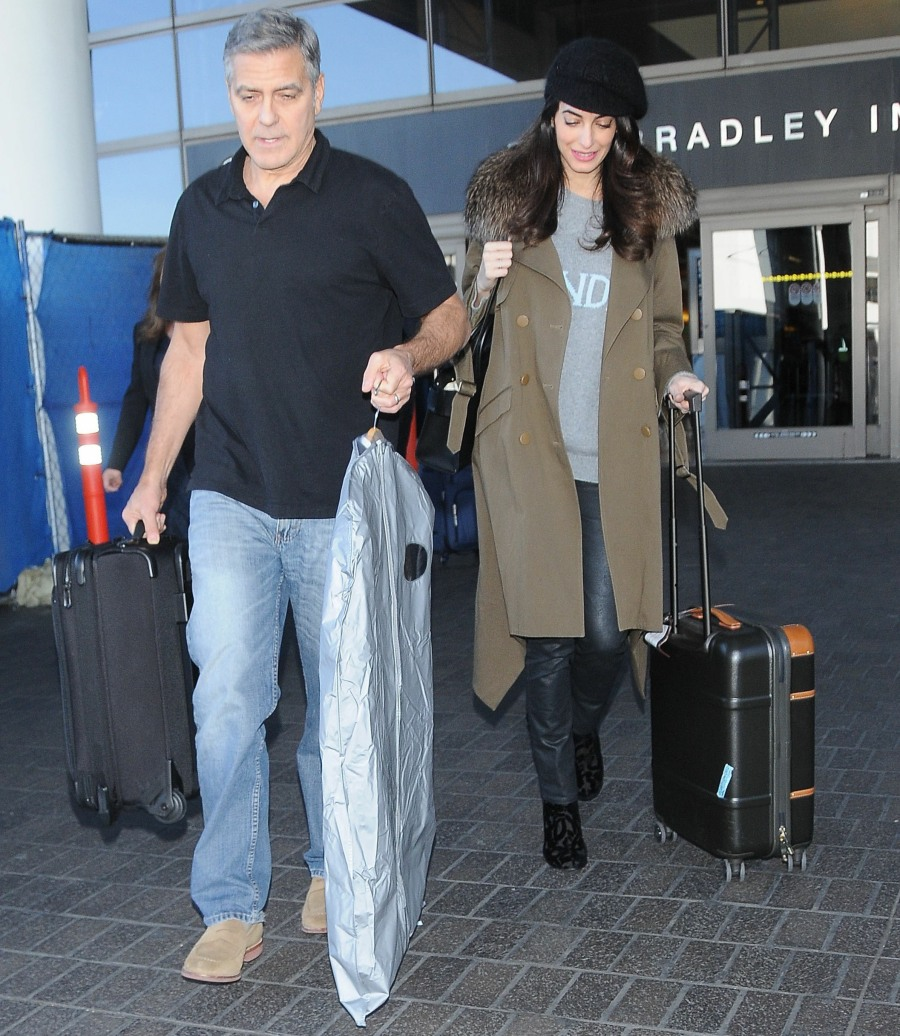 George Clooney & Pregnant Amal Alamuddin Arriving On A Flight At LAX  bitchy | Amal Clooney arrives at LAX with George & a suspiciously dishevelled sweater FFN VAH Clooney George 012717 52296144