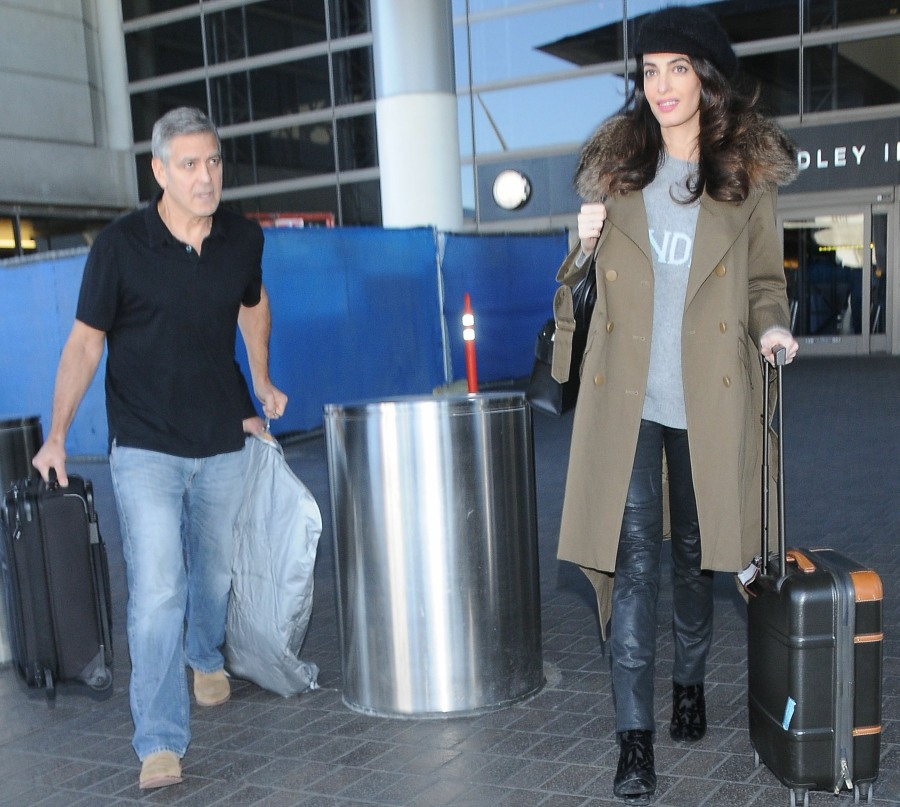 George Clooney & Pregnant Amal Alamuddin Arriving On A Flight At LAX  bitchy | Amal Clooney arrives at LAX with George & a suspiciously dishevelled sweater FFN VAH Clooney George 012717 52296150