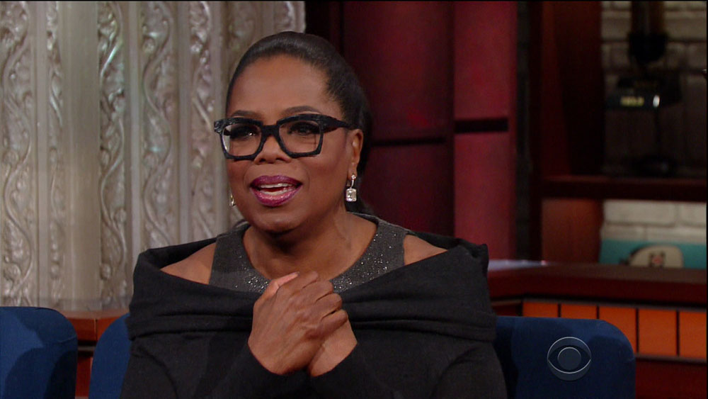 Oprah Winfrey during an appearance on CBS's 'The Late Show with Stephen Colbert.'