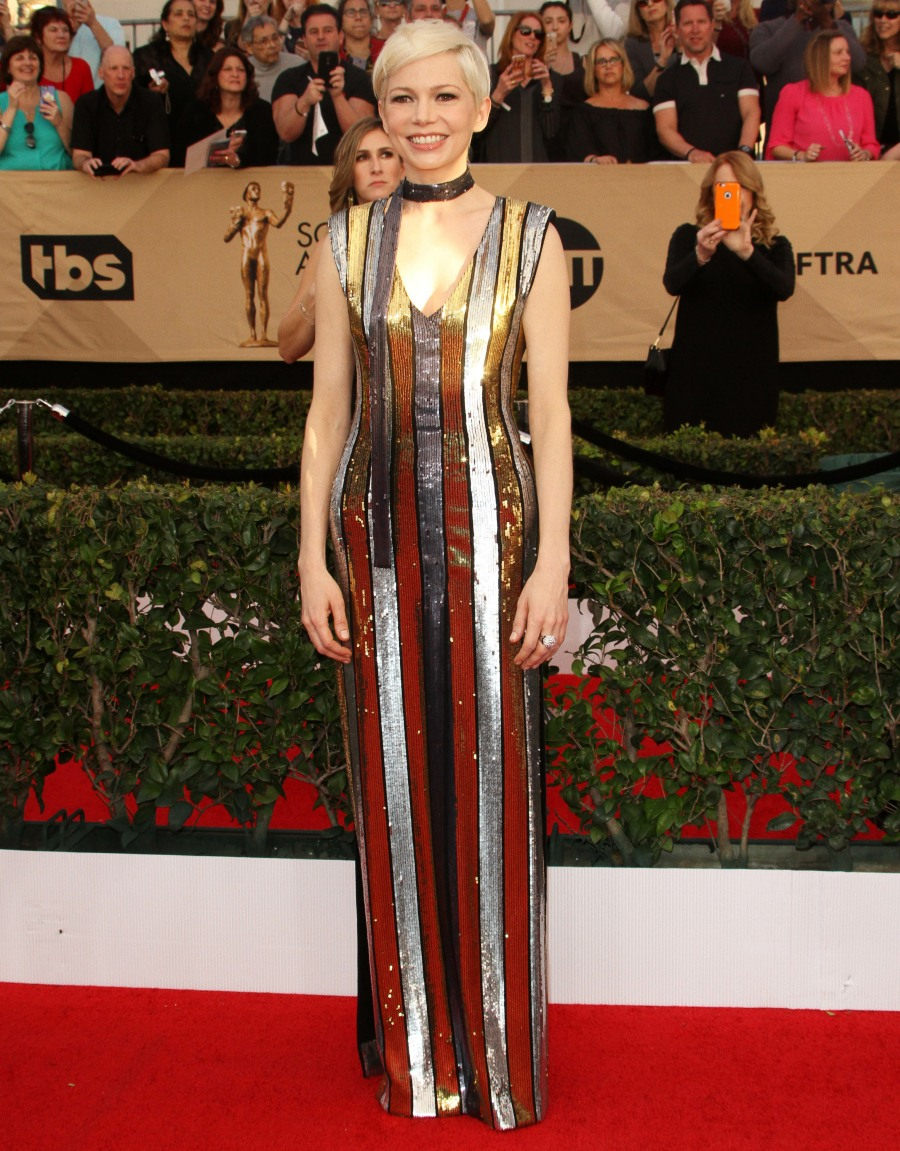 23rd Screen Actors Guild Awards (SAG)  bitchy | Michelle Williams in striped Louis Vuitton on the SAGs: fancy circus tent? wenn30820237