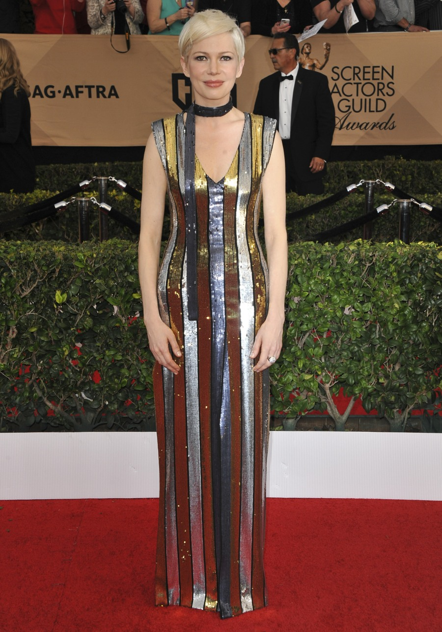 23rd Screen Actors Guild Awards (SAG)  bitchy | Michelle Williams in striped Louis Vuitton on the SAGs: fancy circus tent? wenn30820830