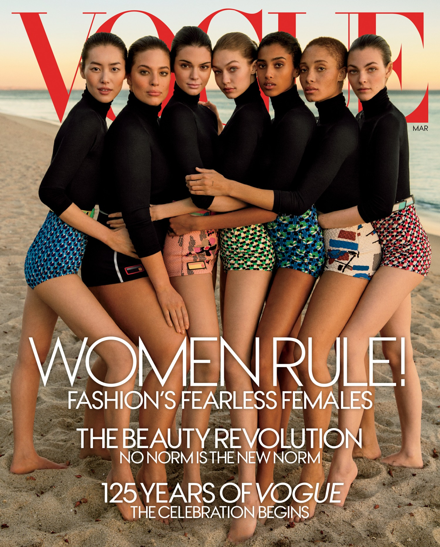 Image result for 'Vogue' highlights diverse models on its March cover for 125-year anniversary