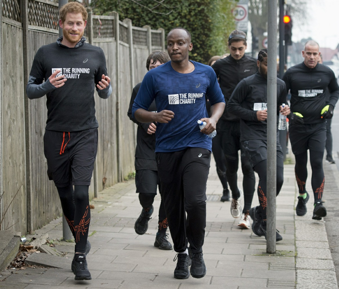 Prince Harry out running with staff and users of The Running Charity, which is the UK's first running-orientated programme for homeless and vulnerable young people, in Willesden in north west London.  bitchy | Prince Harry thinks Emperor Child Fists is 'a critical risk to human rights' 161322PCN PrinceHarryPHT014