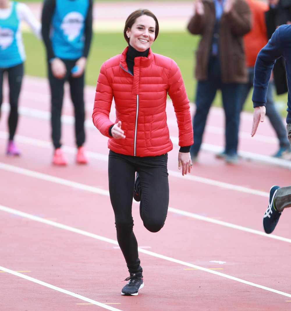 2017 Virgin Money London Marathon for Heads Together Training Day  bitchy | Duchess Kate wore skinny denims & a £280 ski jacket to dash in London wenn30856695