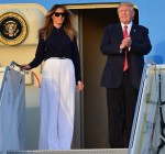 U.S. President Donald Trump and his wife Melania Trump arrive with Japanese Prime Minister Shinzo Abe and his wife Akie Abe on Air Force One at Palm Beach International Airport