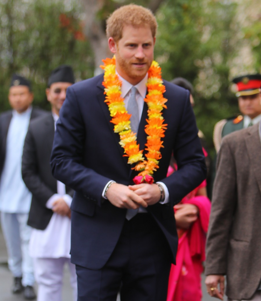Prince Harry attends a ceremony at the Embassy of Nepal