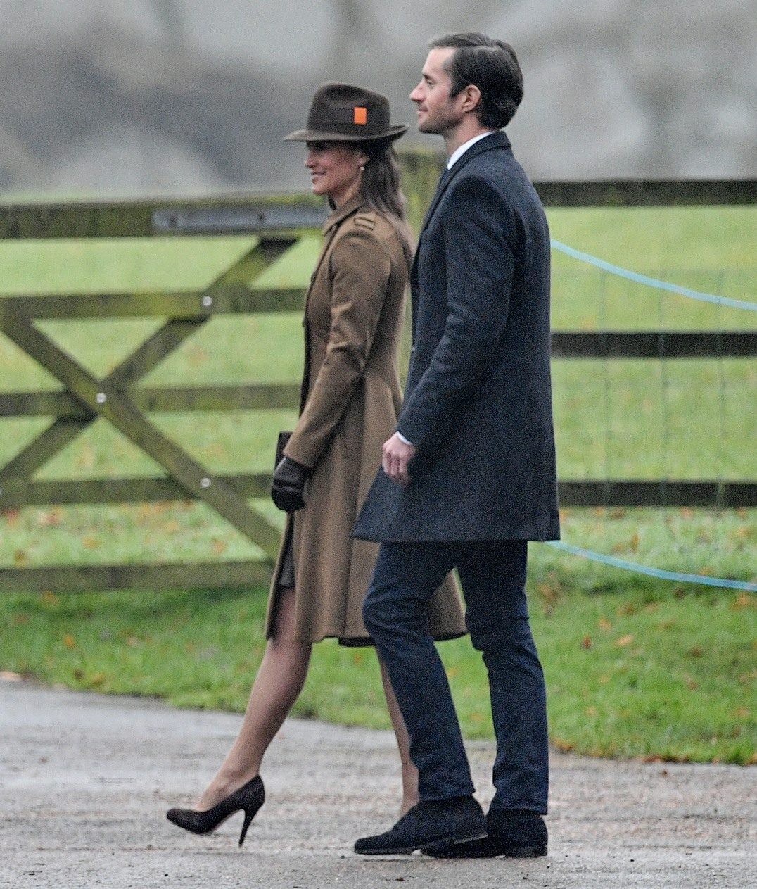 Pippa Middleton the sister  of the Duchess of Cambridge leaves  with James Matthews at  the  Sunday church service at The Church of St. Mary Magdalene on the Queens Sandringham estate