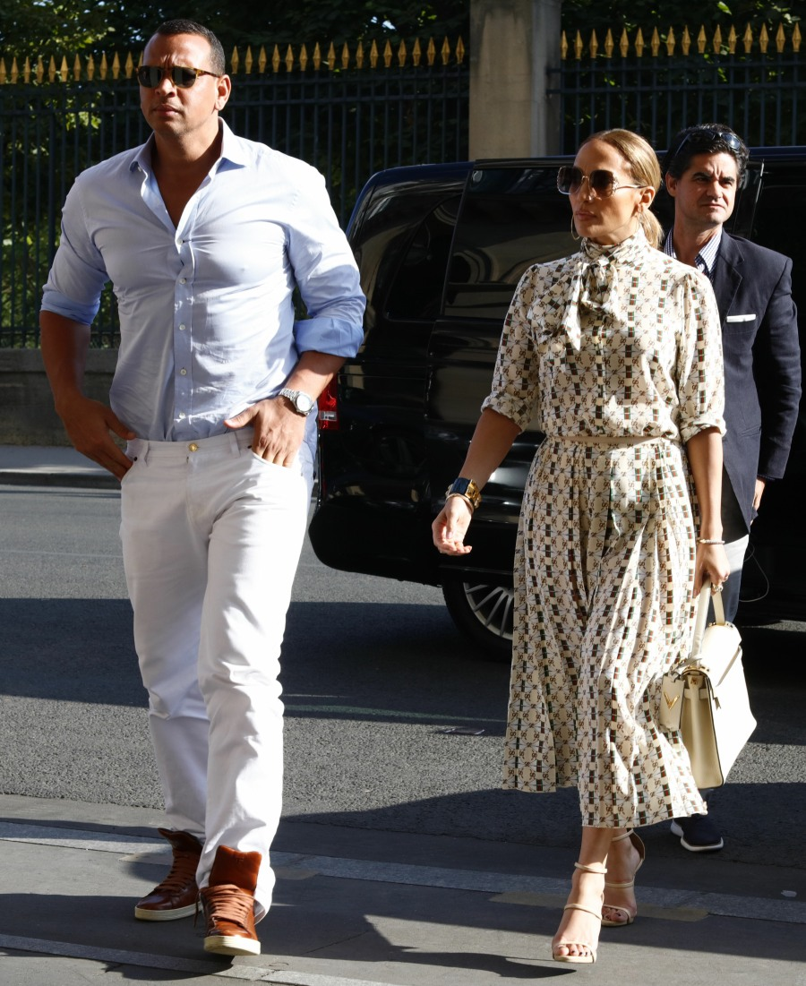 Jennifer Lopez and her boyfriend Alex Rodriguez visit The Louvre