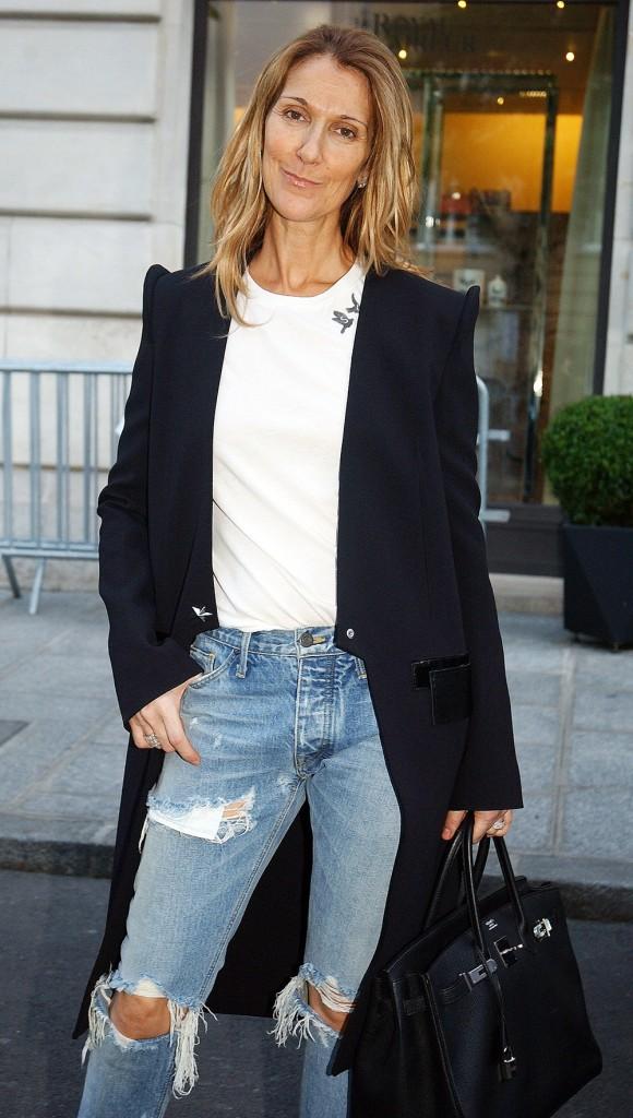 Celine Dion leaves Le Royal Monceau Raffles Paris
