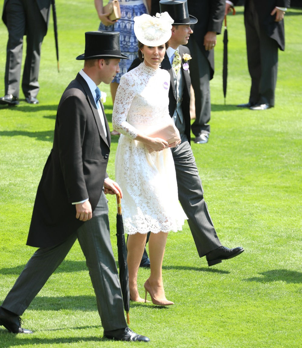 Duchess Kate in bespoke McQueen at Royal Ascot: another white doily?!