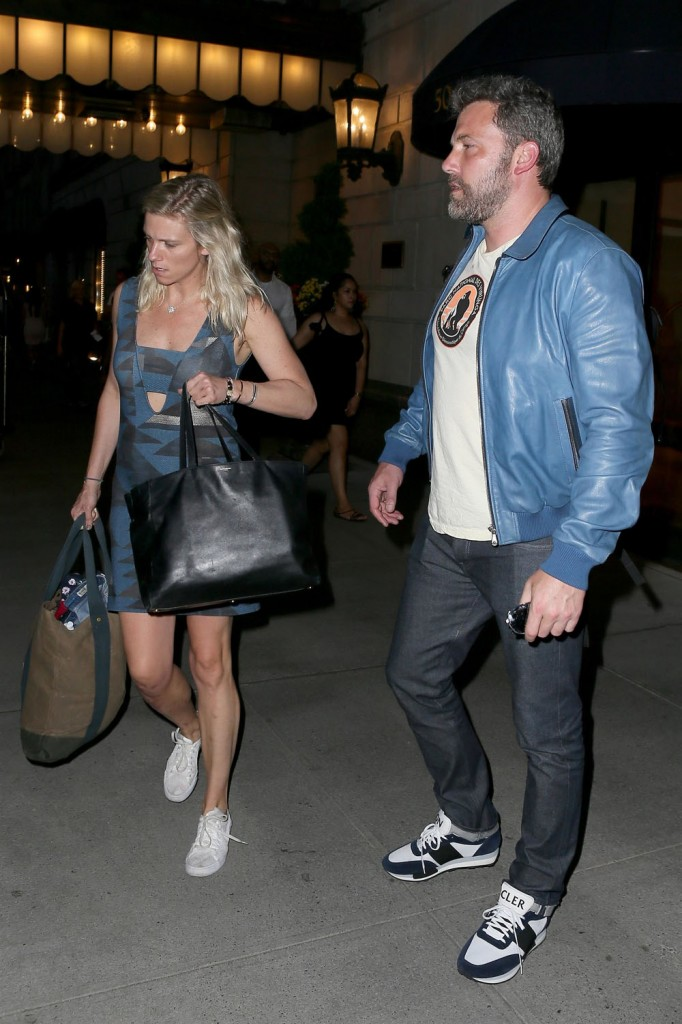 Ben Affleck and Lindsay Shookus check out of the Ritz hotel after a rendezvous in NYC