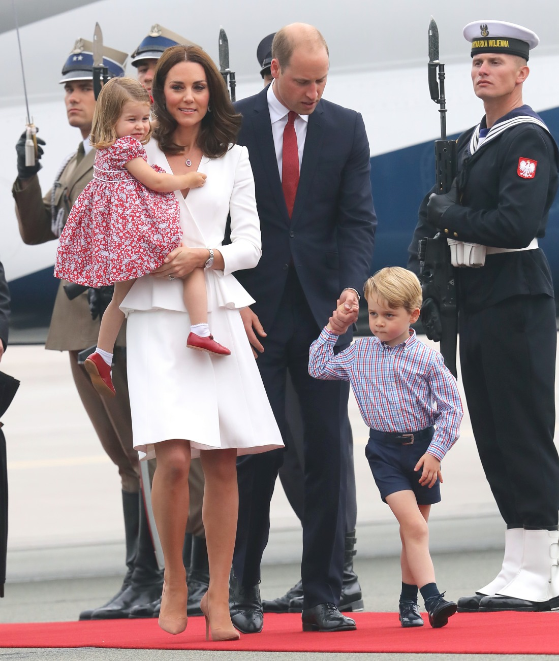 The Duke and Duchess of Cambridge arrive in Poland