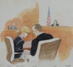Court sketch of Taylor Swift with her lawyer Doug Baldridge