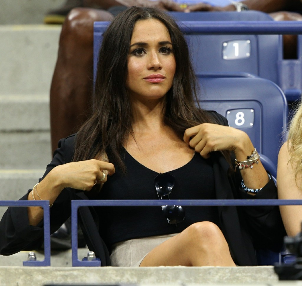 Meghan Markle spectates from the stands on day ten of the US Open Tennis Championships