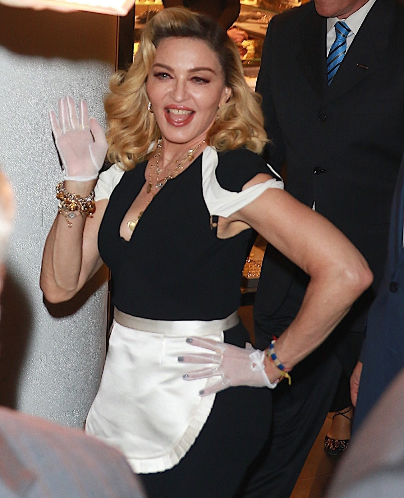 Madonna promotes her new line of skincare products at Barneys New York in New York