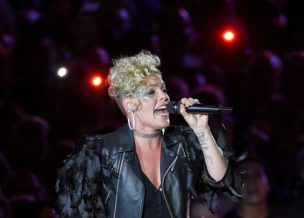 Pink performing live on stage at Berlin's Waldbuehne