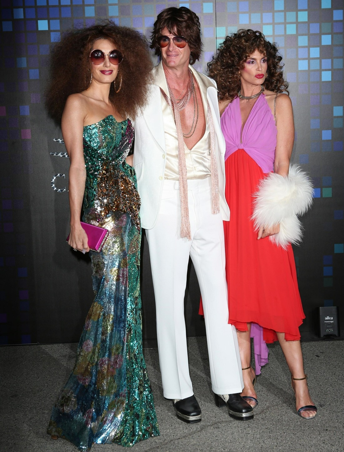 Amal Clooney, Rande Gerber and Cindy Crawford keep it retro at the Casamigos Halloween party