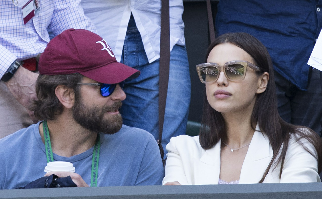 Bradley Cooper and Irina Shayk on day nine of the Wimbledon Tennis Championships in London
