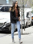 Malia Obama wears denim and Converse sneakers arriving at the Weinstein offices for her internship in New York