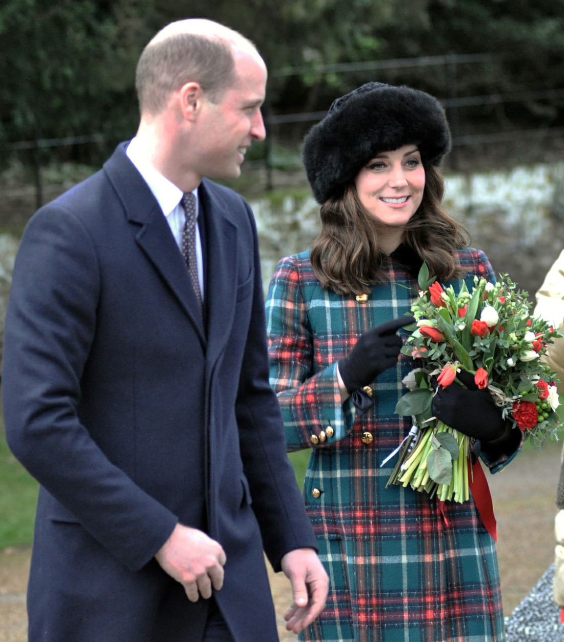 Prince William, Duke of Cambridge, and Catherine, Duchess of Cambridge, at Sandringham Church for the royal family's traditional Christmas Day service