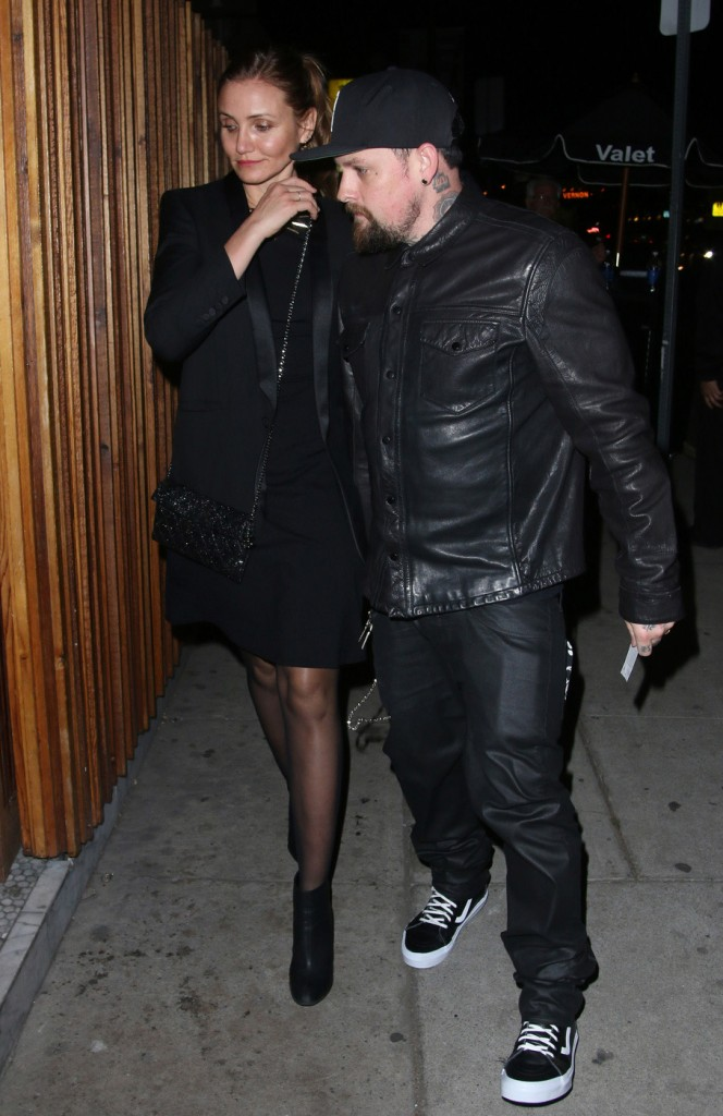 Cameron Diaz and her husband Benji Madden seen arriving at The Nice Guy restaurant in Los Angeles