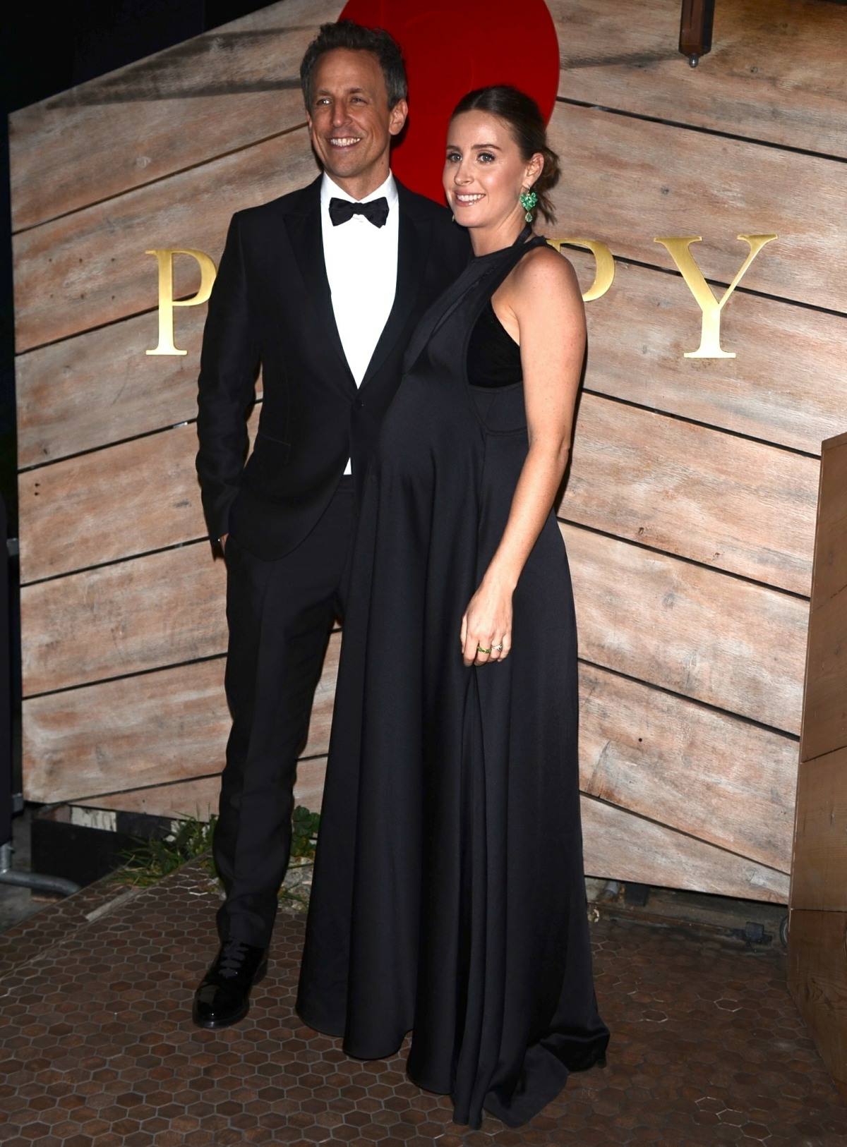 Seth Meyers and Pregnant Wife Alexi pose at Poppy for a Golden Globes Afterparty